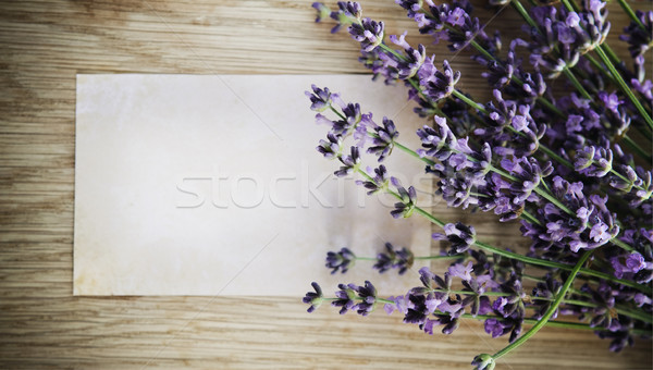 Stock photo: Lavender flowers over wooden background