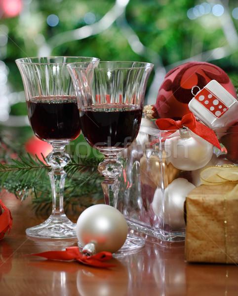 óculos vinho tinto árvore de natal férias festa Foto stock © dashapetrenko