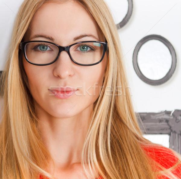 Portré nő visel fekete szem szemüveg Stock fotó © dashapetrenko