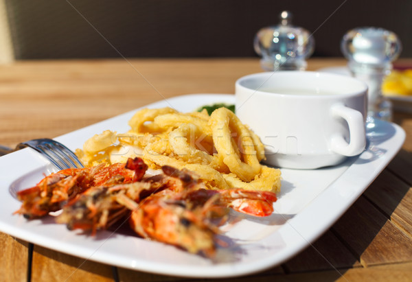 Seafood on the plate in restarant  Stock photo © dashapetrenko