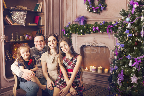 élégant famille célébrer Noël chambre arbre de noël Photo stock © dashapetrenko