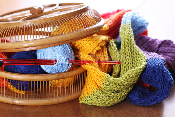 Basket with knitting Stock photo © dashapetrenko