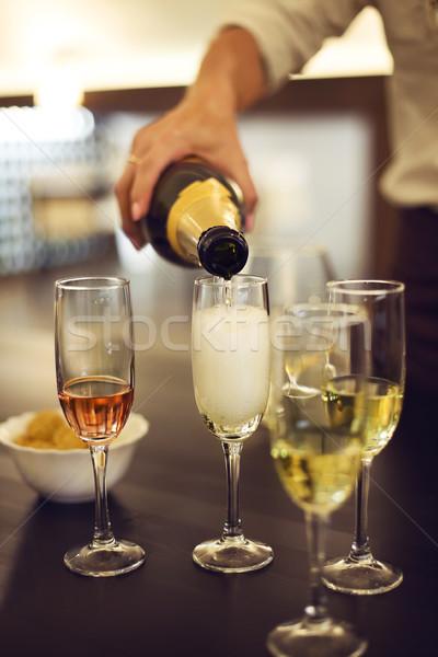 шампанского флейты таблице чипов стороны Сток-фото © dashapetrenko
