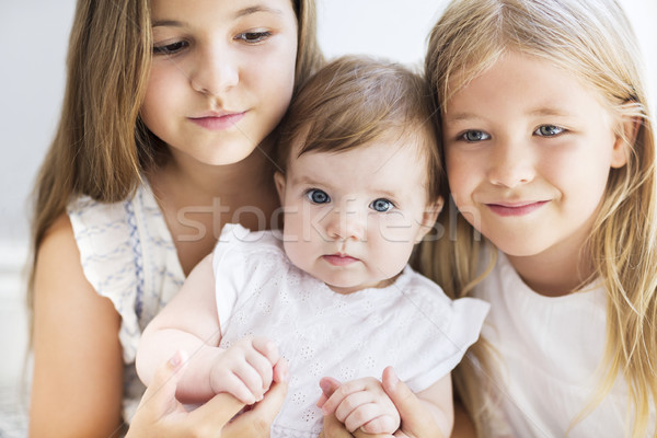 Stock photo: Three pretty little blond girls