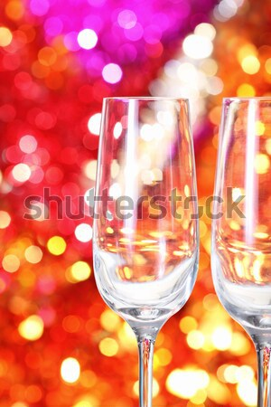 Champagne glasses on silver tray. Party concept Stock photo © dashapetrenko