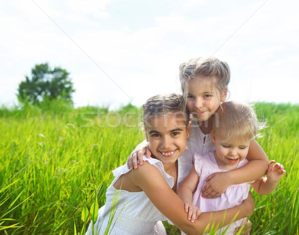 Mosolyog boldog kislányok legelő nyár nap Stock fotó © dashapetrenko