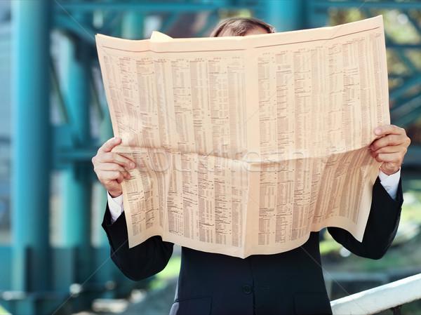Közelkép kezek üzletember újság kint hírek Stock fotó © dashapetrenko