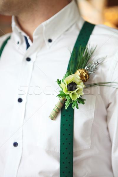 Marié boutonnière blanche fourrures arbre Photo stock © dashapetrenko