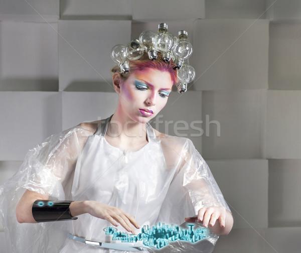 çekici sarışın kadın dokunmak düğme sanal arayüz Stok fotoğraf © dashapetrenko
