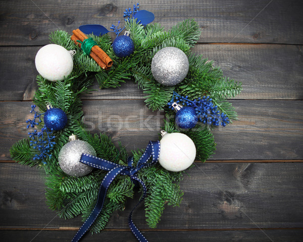 Advent Christmas wreath on wooden background Stock photo © dashapetrenko