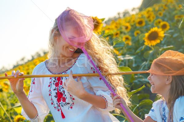 母親 娘 演奏 フィールド 昆虫 ストックフォト © dashapetrenko