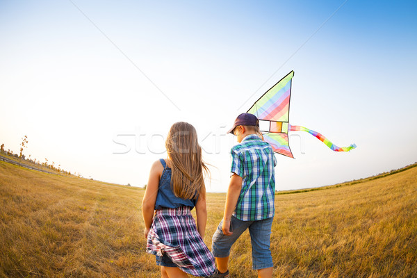 Stock fotó: Kicsi · gyerekek · játszik · repülés · papírsárkány · nyár