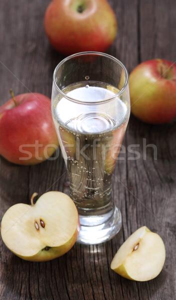Elma elma şarabı elma rustik ahşap masa meyve Stok fotoğraf © dashapetrenko