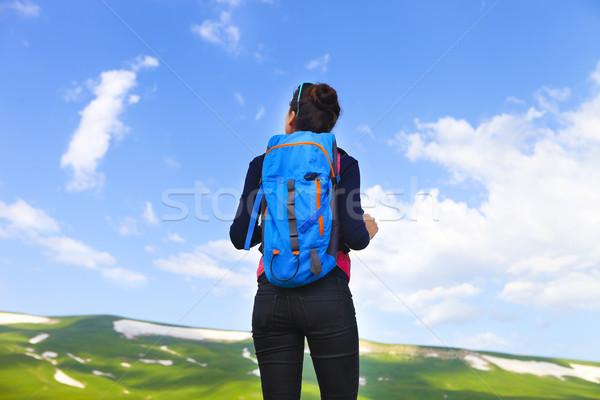 Uzun yürüyüşe çıkan kimse sırt çantası üst dağ vadi Stok fotoğraf © dashapetrenko