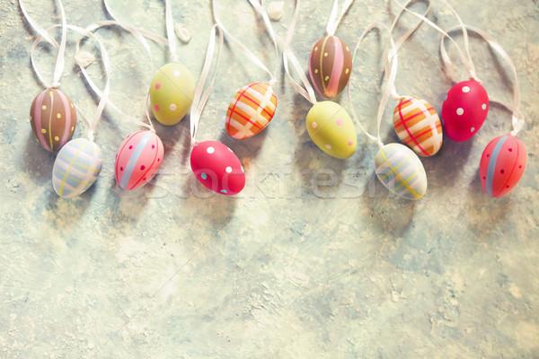 Pâques œufs de Pâques haut vue espace de copie printemps Photo stock © dashapetrenko