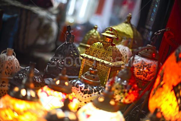 Vidro metal lanternas árabe venda luz Foto stock © dashapetrenko
