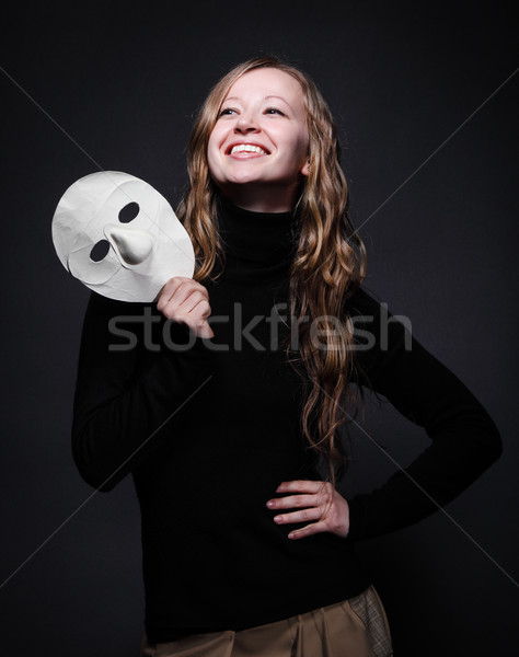 Baixo chave retrato bela mulher máscara Foto stock © dashapetrenko