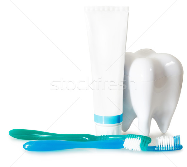 Tooth brushes with mint, tooth paste and dental floss isolated o Stock photo © dashapetrenko