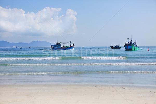 Tekneler plaj Vietnam manzara kum deniz Stok fotoğraf © dashapetrenko