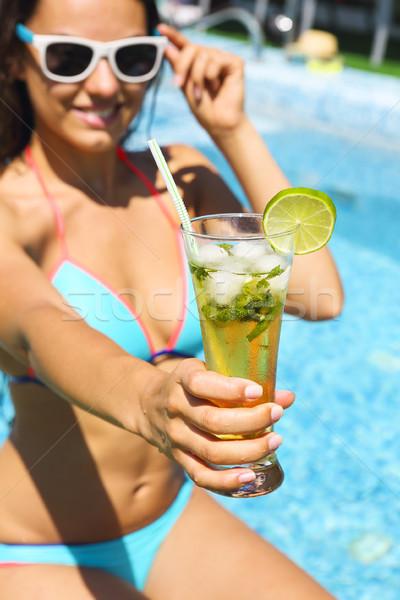 Gerçek kadın güzellik yaz tatili yüzme havuzu Stok fotoğraf © dashapetrenko