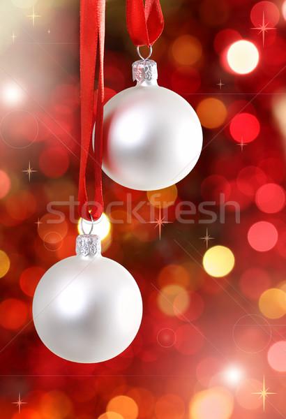 Photo stock: Blanche · arbre · de · noël · décorations · lumières · fond · rouge