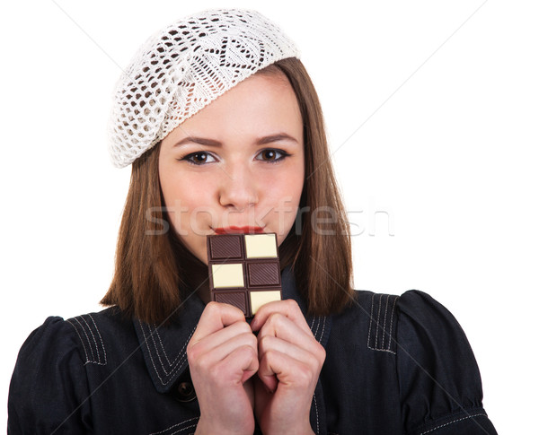 かわいい ブルネット 少女 チョコレート 小さな パリジャン ストックフォト © dashapetrenko
