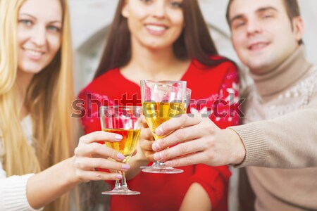 Bride to be and bridemaids holding glass with champagne  Stock photo © dashapetrenko
