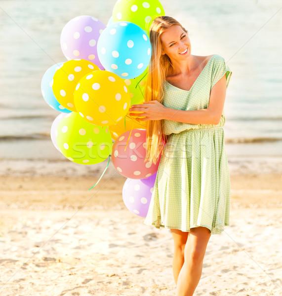 Kadın plaj renkli lekeli balonlar mutlu Stok fotoğraf © dashapetrenko