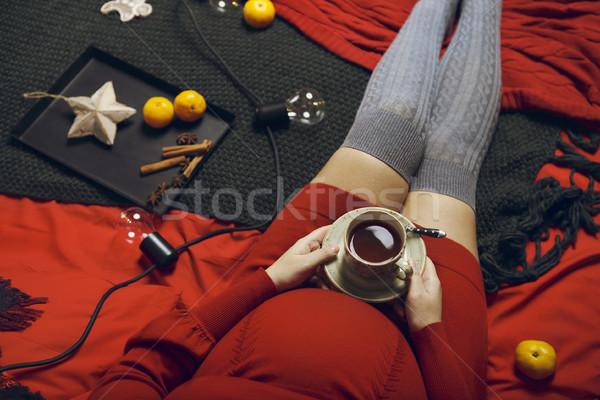 Сток-фото: молодые · беременная · женщина · красное · платье · Top · мнение