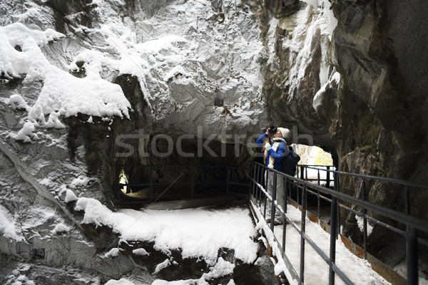 Young girl making photo at winter mountains Stock photo © dashapetrenko