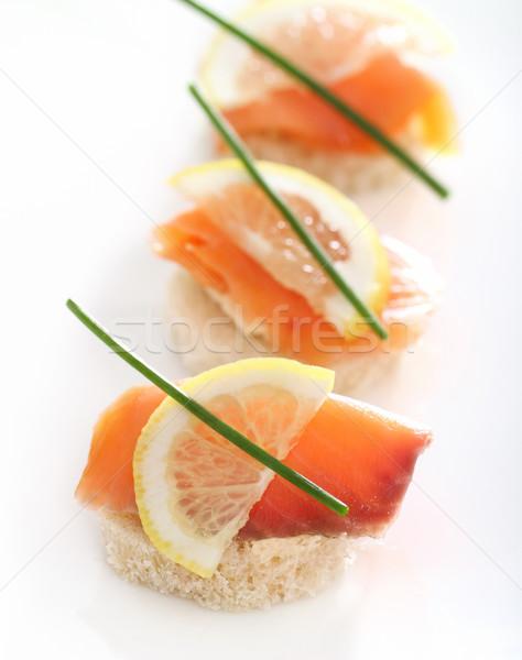 Extreme close-up of smoked salmon  Stock photo © dashapetrenko