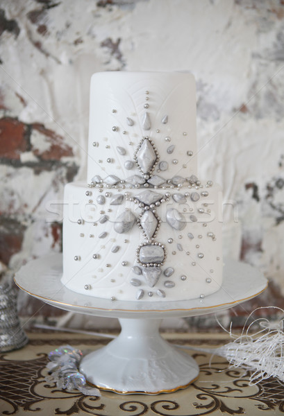 White wedding cake with silver decoration  Stock photo © dashapetrenko