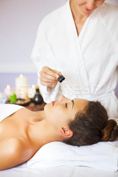 Fiatal nő spa kezelés egészséges életmód pihenés közelkép lány Stock fotó © dashapetrenko
