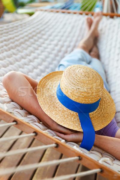 ленивый время человека Hat гамак лет Сток-фото © dashapetrenko