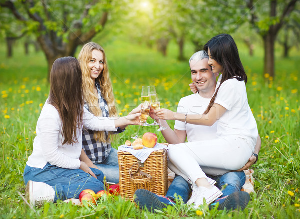 счастливым друзей питьевой шампанского пикника саду Сток-фото © dashapetrenko