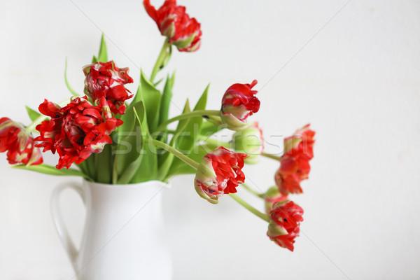 Tulipany bukiet biały Wazon rustykalny Zdjęcia stock © dashapetrenko
