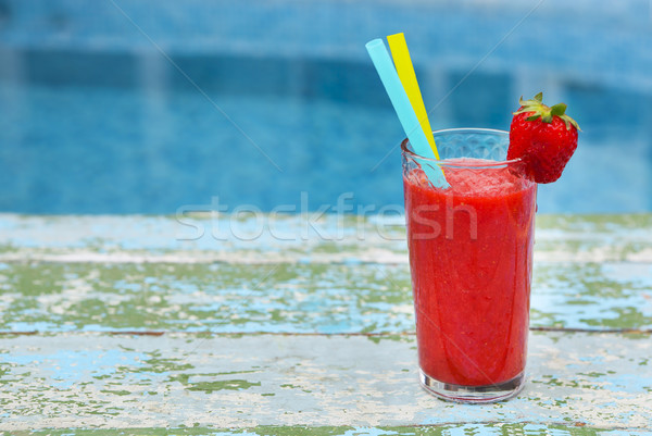 Photo stock: Fraise · smoothie · vieux · fruits · verre · fond