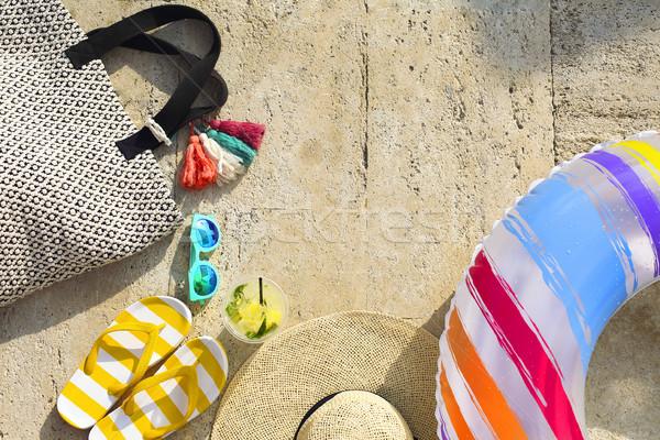 Beach accessories on limestone background Stock photo © dashapetrenko
