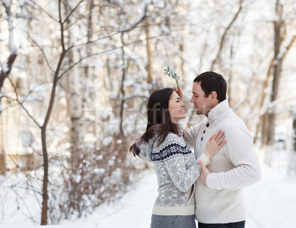 Happy young couple under mistletoe having fun  Stock photo © dashapetrenko