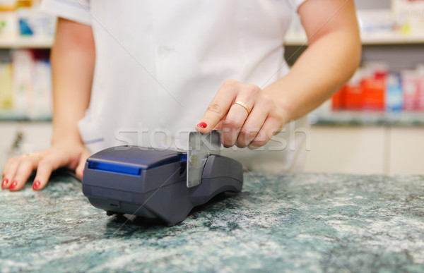 Close up of human hand putting credit card into payment machine Stock photo © dashapetrenko