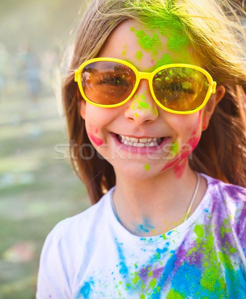 Feliz bonitinho menina cor festival retrato Foto stock © dashapetrenko
