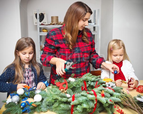 Making an advent wreath with the kids  Stock photo © dashapetrenko