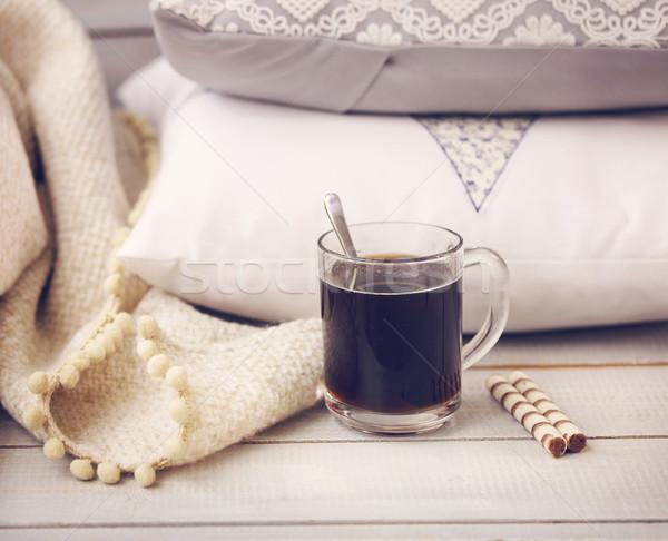 Cozy still life with coffee, pillows and plaid  Stock photo © dashapetrenko
