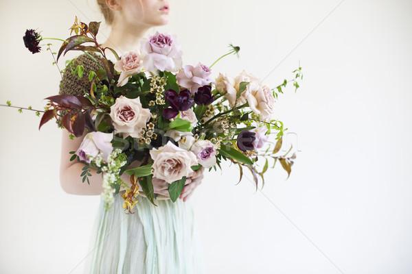 Szokatlan esküvő elegáns virágcsokor kezek menyasszony Stock fotó © dashapetrenko