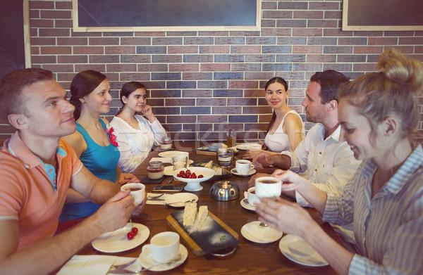 шесть друзей обед ресторан Сток-фото © dashapetrenko