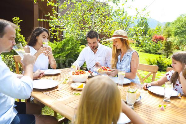 Család vacsora választék olasz edények fa asztal Stock fotó © dashapetrenko