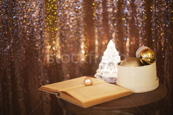 Little box with a lot of Christmas silver and golden decorations Stock photo © dashapetrenko