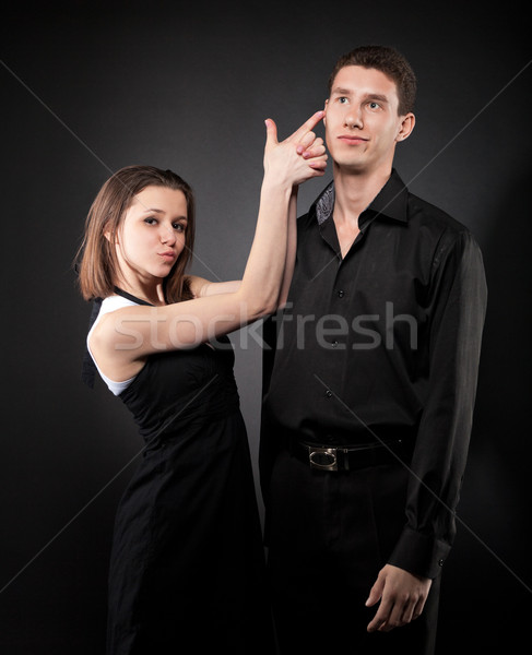 Portrait of a young funny couple in love  Stock photo © dashapetrenko