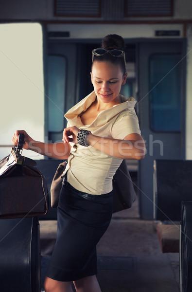 Woman in the retro train Stock photo © dashapetrenko