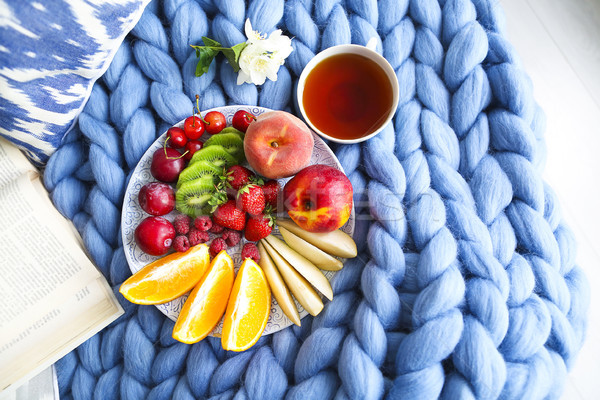 Plate with fresh fruit salad on a blue plaid with place for text Stock photo © dashapetrenko